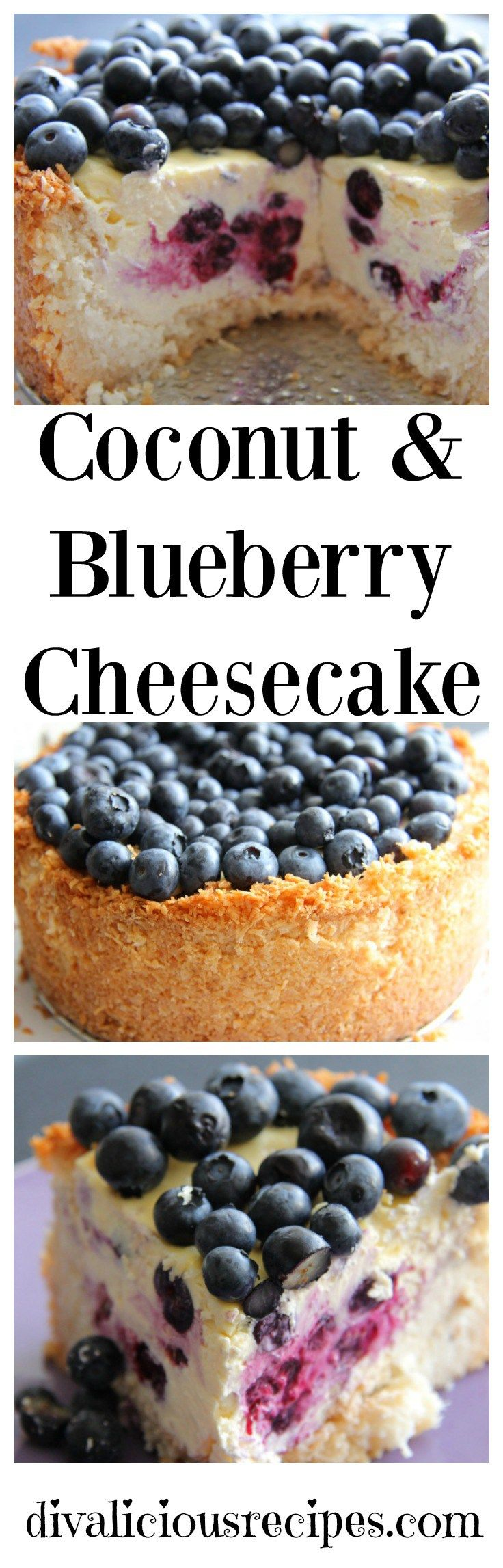This coconut and blueberry cheesecake has a crust that is made with coconut instead of a low carb flour or biscuit. It looks too good to eat!