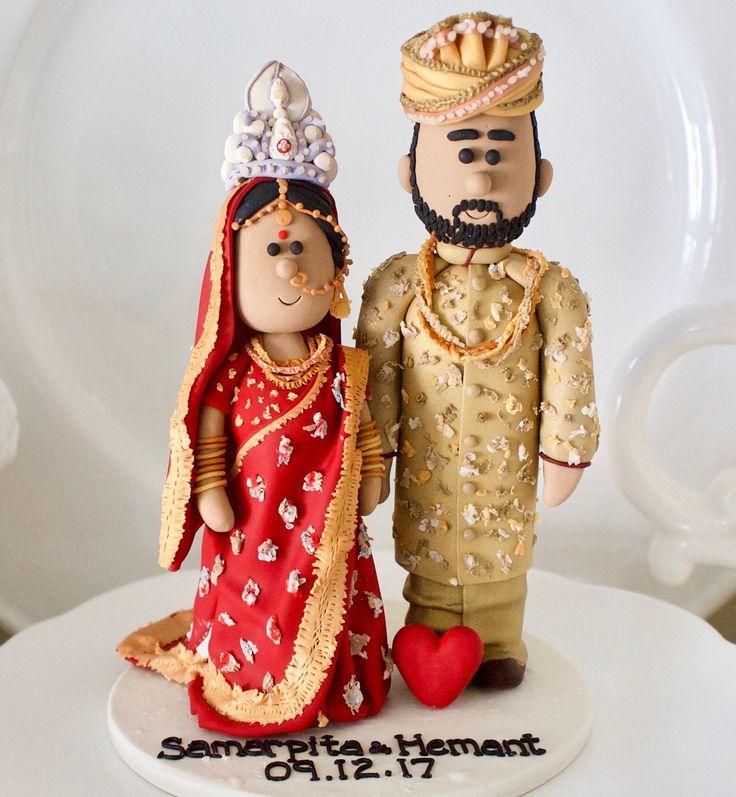 Customised Asian Indian Sikh Hindu Pakistani Muslim Bride & Groom Ethnic wedding cake topper Personalized traditional Indian wedding topper by nicolewclark on Etsy