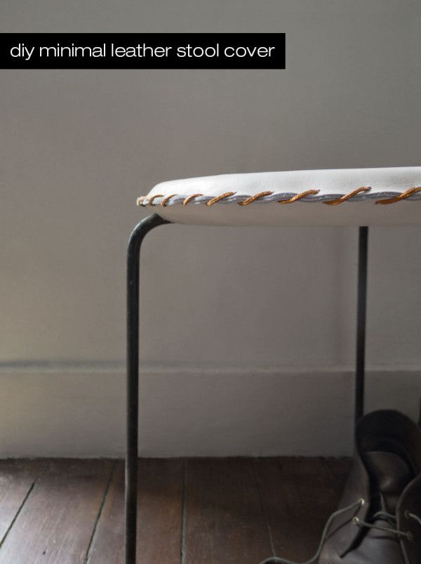 Make this stitched leather stool cover in less than 10 easy steps!