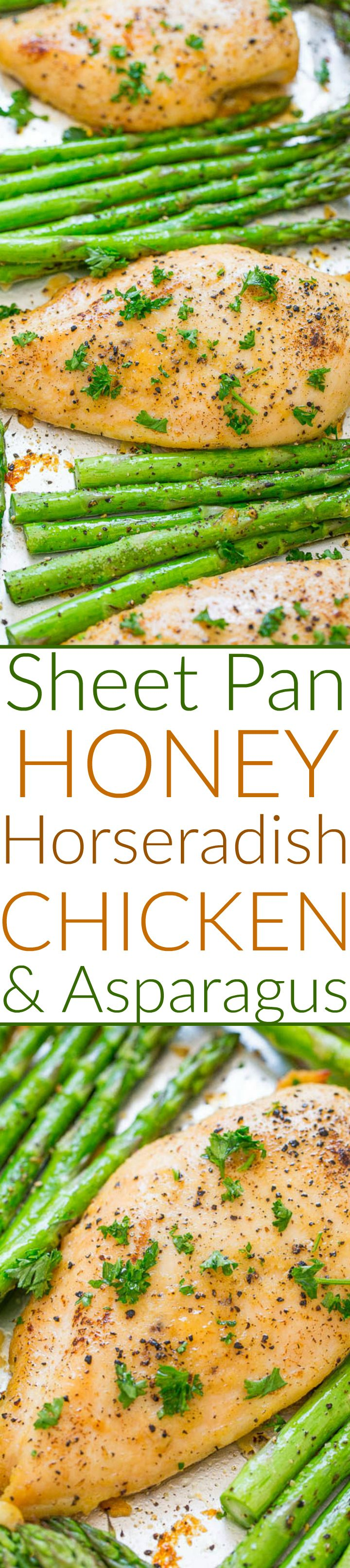 Sheet Pan Honey Horseradish Chicken and Asparagus - The perfect balance of sweet honey with spicy horseradish in this EASY, HEALTHY recipe that's ready in 30 minutes!! Juicy chicken with crisp-tender asparagus for the win!!