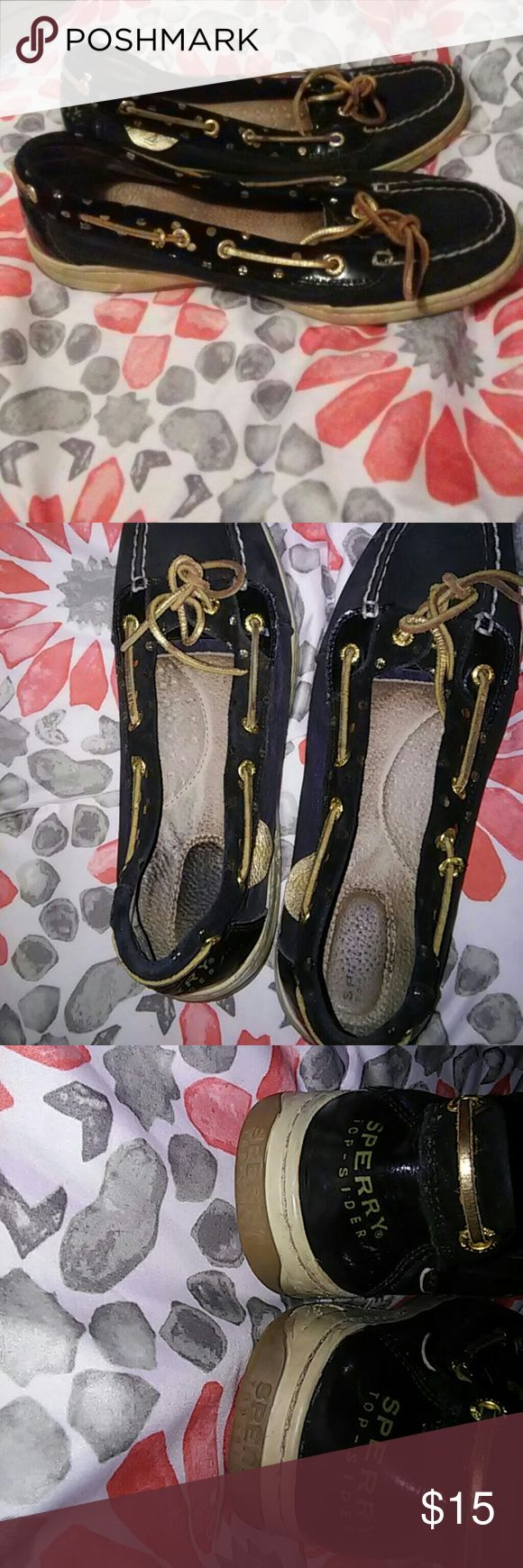 Black Sperry Top-Siders with Gold Polka Dots I've had these for 2 years and worn them plenty of times. They aren't in like new condition but they are in good condition. There are no stains or tears, there is dirt on the sides of course from wearing them often. Sperry Top-Sider Shoes Flats & Loafers