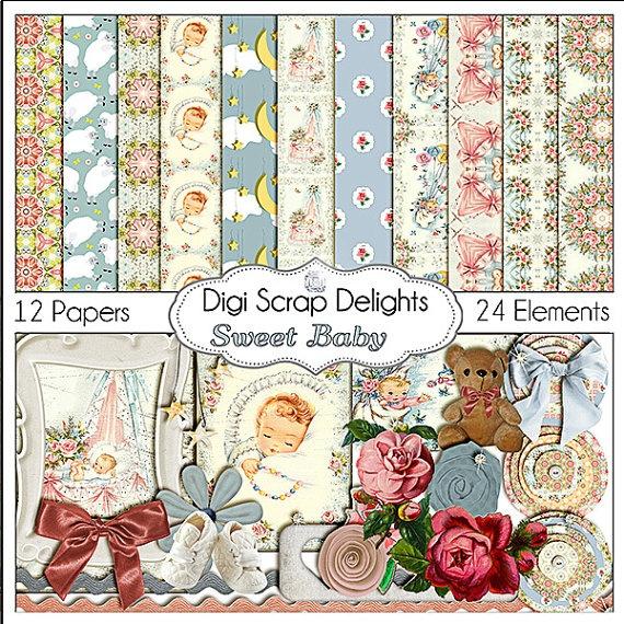 Vintage Baby Digital Scrapbook Kit   Pink and by DigiScrapDelights, $4.00