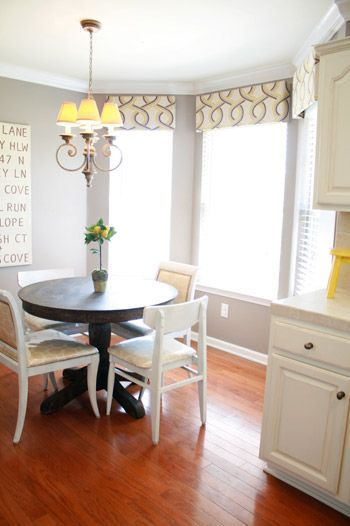 Breakfast area: Wall Colors, White Chairs, Mushrooms Taupe, Breakfast Nooks, Grey Kitchens, Rooms Paintings Colors, Window Treatments, Colorplac Mushrooms, Bays Window