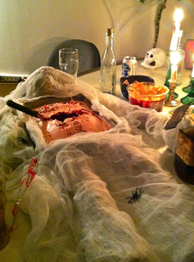 Mad scientist's operation cake: the best part of a haunted laboratory or hospital.