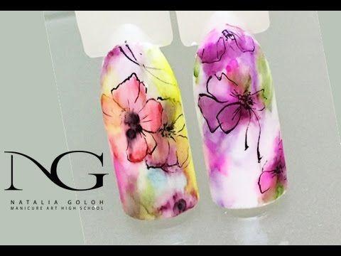 Нежные цветы на ногтях: БЫСТРАЯ маркерная техника с прорисовкой / Flowers on nails: marker technique - YouTube