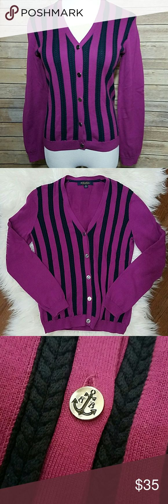 BROOKS BROTHERS Pink & Navy Cardigan BROOKS BROTHERS Pink & Navy Cardigan with Ancor Buttons. Excellent condition! Soft supima cotton.  Size M Brooks Brothers Sweaters Cardigans