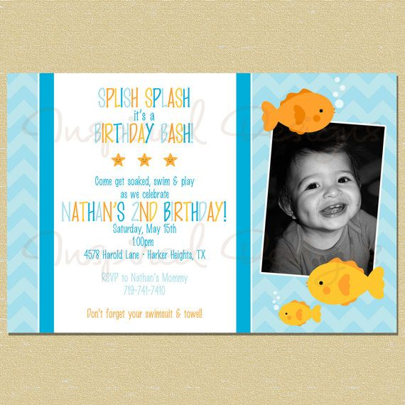 Best Tylers FIRST Birthday Images On Pinterest Under The Sea - Goldfish birthday invitation