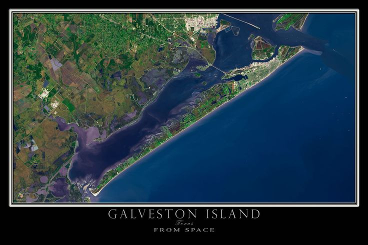 Galveston Island Texas From Space Satellite Poster Map