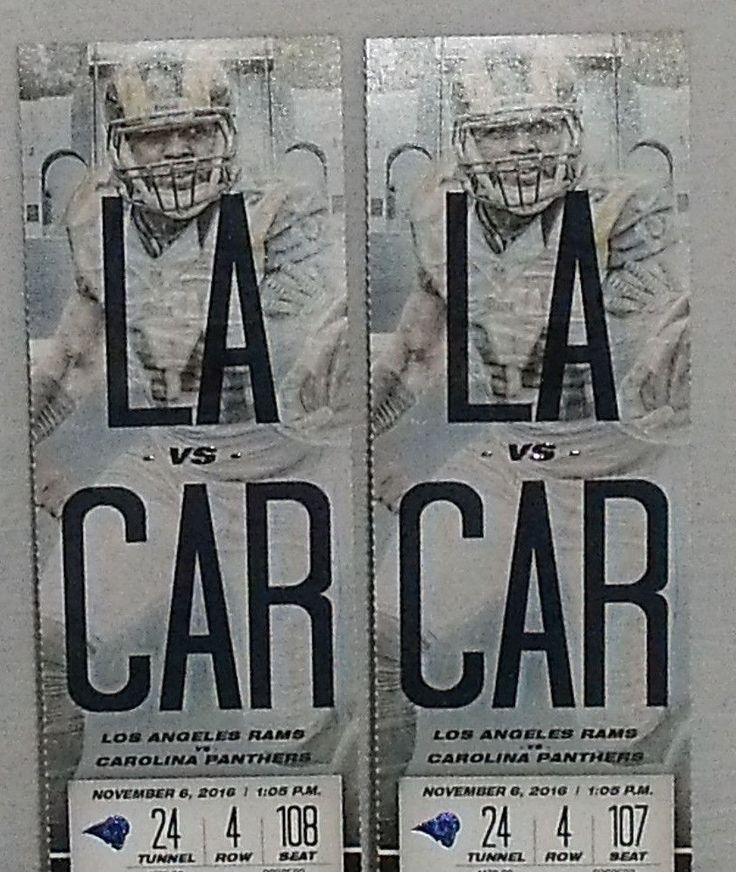 www.jaedasplaythings.com 2 Los Angeles Rams vs Carolina Panthers Tickets 11/06/16 Tunnel 24 Row 4  #LosAngelesRams