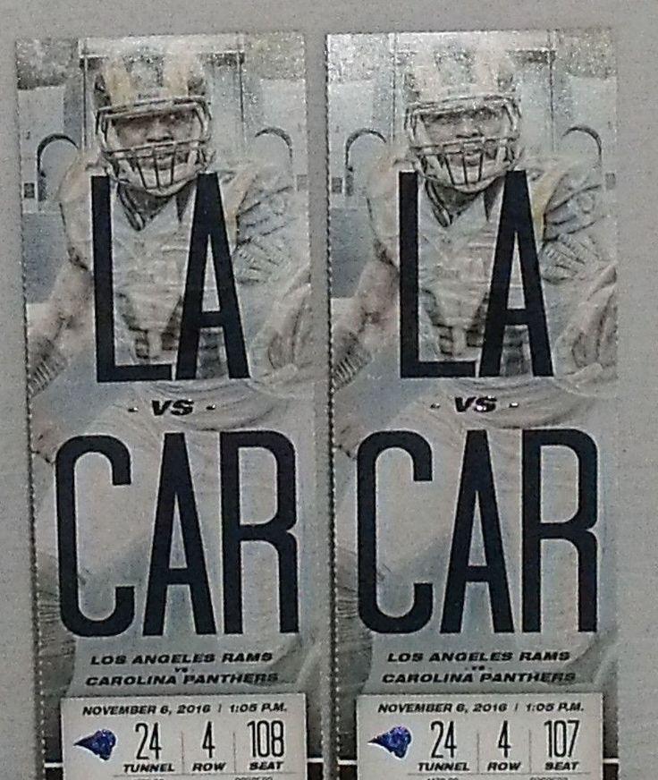 www.jaedasplaythings.com 2 Los Angeles Rams vs Carolina Panthers Tickets 11/06/16 Tunnel 24 Row 4  #LosAngelesRams
