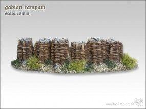 Eine sehr fein modelliere Gabionen Geschützstellung aus Resin.  Eine Gabione, auch Steinkorb, Schüttkorb, Mauersteinkorb oder Drahtschotterkasten genannt, ist ein mit Steinen gefüllter Korb.   http://onlineshop.kohli.de/fantasy-tabletop/bauteile-und-zubehoer/tabletop-art/gelaende-28mm/3209/gabionenmauer