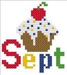 September Cupcake Cross Stitch Pattern