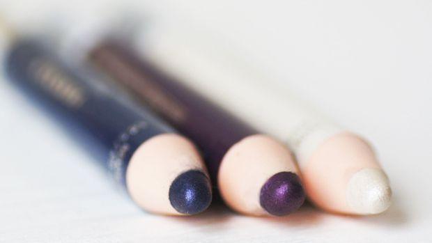 Mavala Eye Shadow Crayons Violet Cerise, Bleu Saphir and Blanc Argenté