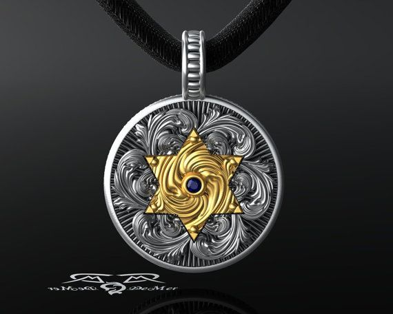 Star of David Jewish Star gold and silver pendant by DeMerJewelry  #star of david #barmitzvah #batmitzvah #jewish #jew #Sapphire #gold #silver #pendant #religious freedom #medallion #religious #coin #starburst #floral #scrollwork #art deco #jewelry #victorian #ornate #gothic #vintage #antique #antiqued #jewish jewelry #religious jewelry #coexist