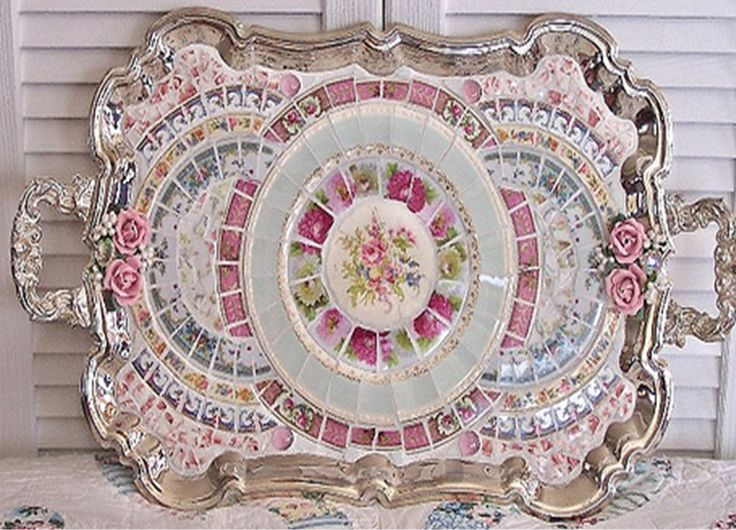 shabby chic mosaic china on silver tray