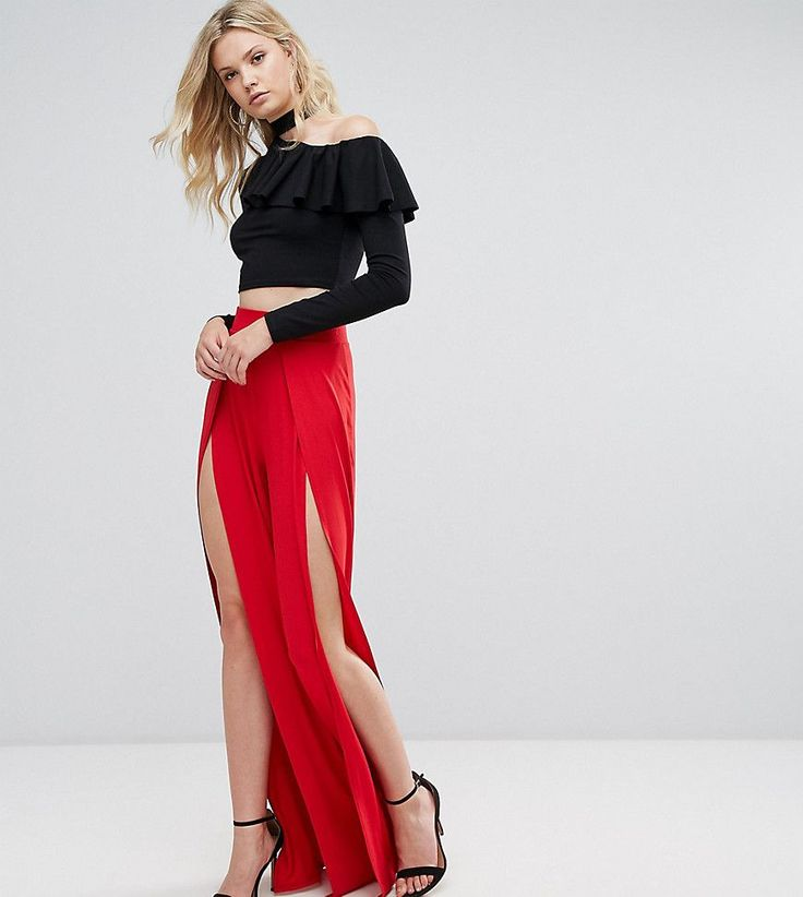 ASOS TALL Wide Leg Pants With Split Front - Red
