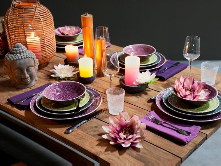 Thai dinner party table setting