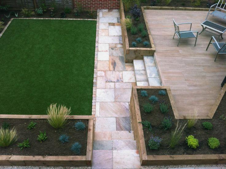Artificial lawn, oak sleeper raised planters & composite deck