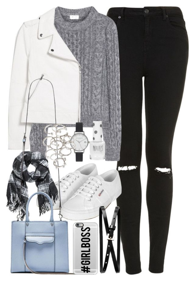 """""""Outfit with a white leather jacket"""" by ferned ❤ liked on Polyvore featuring Topshop, Yves Saint Laurent, Superga, MANGO, H&M, Banana Republic, Rebecca Minkoff, Casetify, Olivia Burton and Forever 21"""