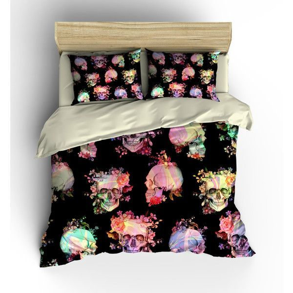 Skull Bedding Sugar Skull Duvet Cover Set Comforter Cover Bedding... ($119) ❤ liked on Polyvore featuring home, bed & bath, bedding, duvet covers, grey, home & living, black twin bedding, king size bedding, grey queen bedding and gray twin bedding