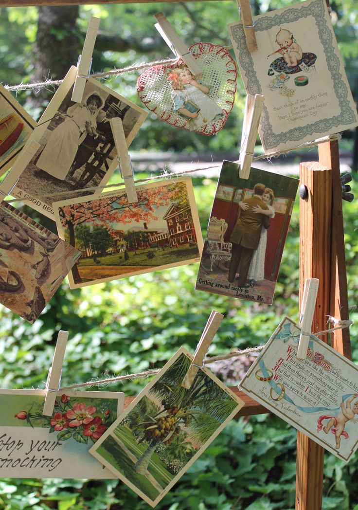 Vintage postcards fun decor for any event but there are such sweet baby postcards and cards!