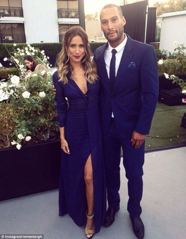 'How cute is my date?!' Renee Bargh looked elegant yet sexy in a full-length blue gown for her friends' wedding in LA last week with her AFL player beau Josh Gibson