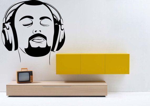 Removable Wall Room Decor Art Vinyl Sticker Mural Decal Popular Electronic Dance Music New Joy DJ EDM Club Headphones Listens Relax F1246
