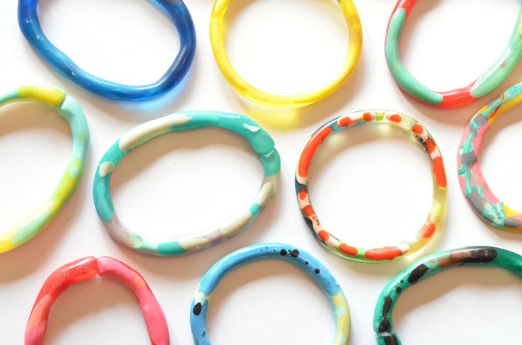 Flock Curiosity Assembly - Colourful Handmade Resin Bangles Contemporary Statement Jewellery
