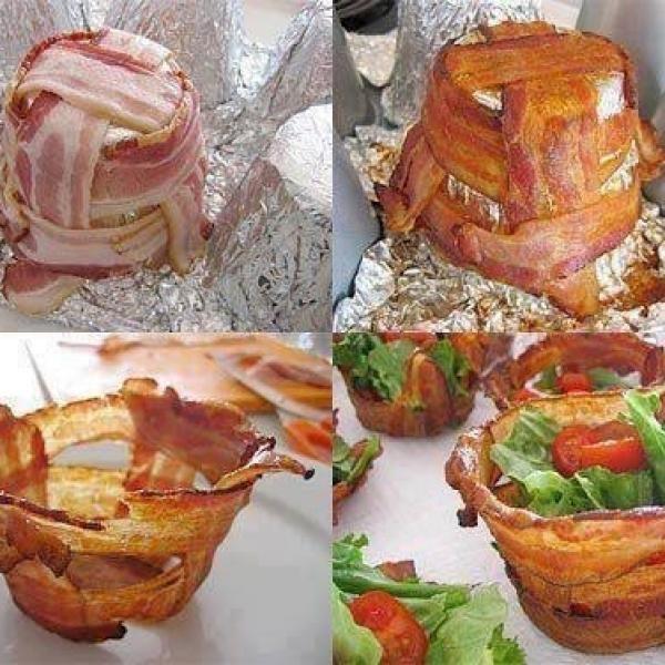 Aprende a preparar cestas de bacon o tocineta LuisFy con esta rica y fácil receta.  Hacemos unos conos o moldes en papel de aluminio y en el vamos a entrelazar las...