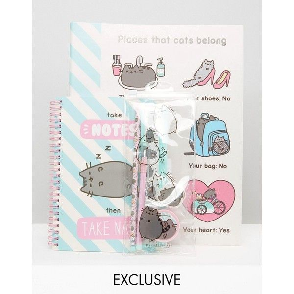 Pusheen Back To School Bundle ($20) ❤ liked on Polyvore featuring home, home decor, office accessories, multi, rubber pencil, cat pencil case, cat pen, cat pencils and cat pencil pouch