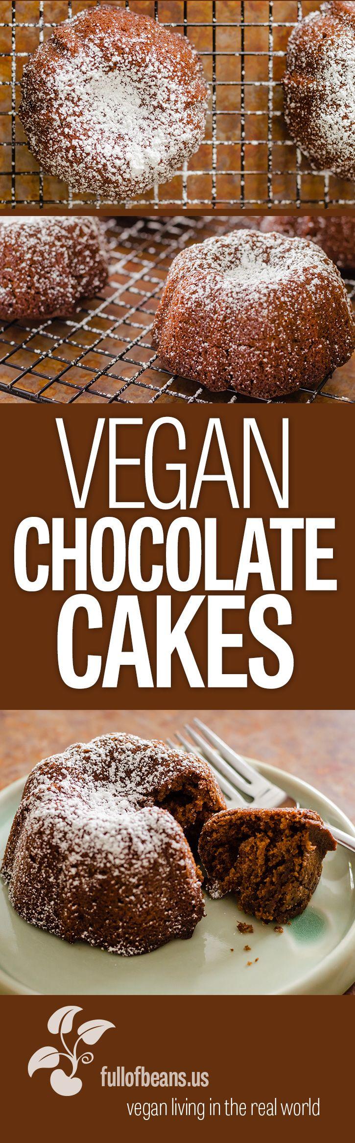 Delicious, super fast, fool proof, chocolate cake. We like them them as mini bundt cakes! #vegan #chocolate