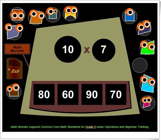 Math Monster Multiplication (Mathplayground.com)