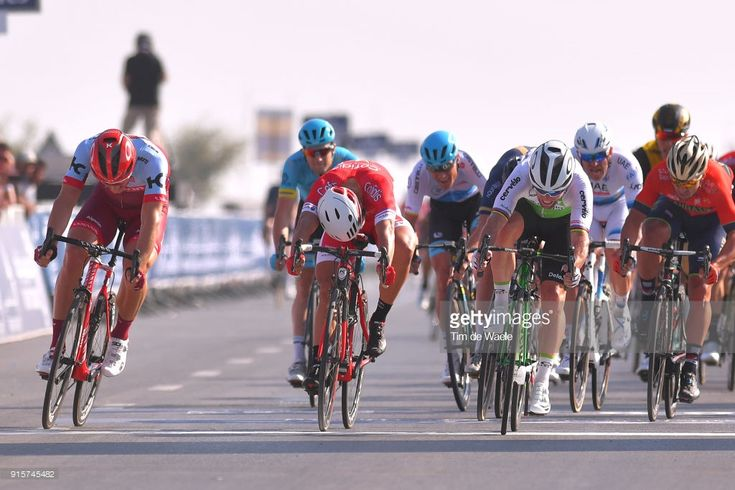 #DubaiTour 5th Tour Dubai 2018 / Stage 3 Arrival / Sprint / Mark Cavendish of Great Britain / Adam Blythe of Great Britain / Marcel Kittel of Germany / Nacer Bouhanni of France / Sonny Colbrelli of Italy / Skydive Dubai - Fujairah (190km)/ Dubai Silicon Oasis Stage / Dubai Tour /