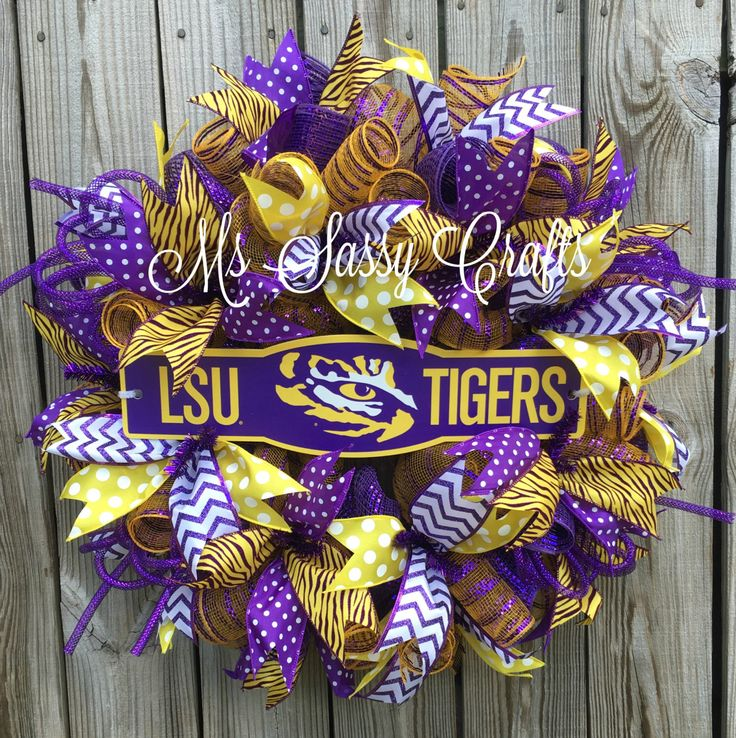 LSU Wreath - LSU Deco Mesh Wreath - Louisiana State University Wreath - LSU…