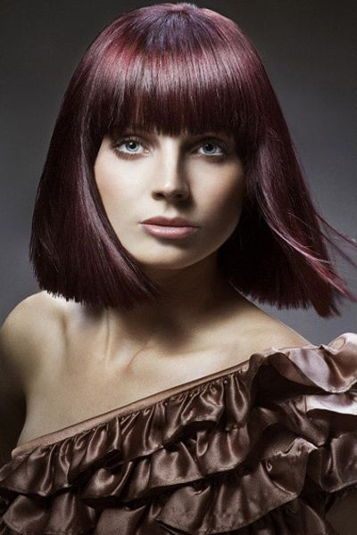 Purple Tinted Straight Style with Bangs