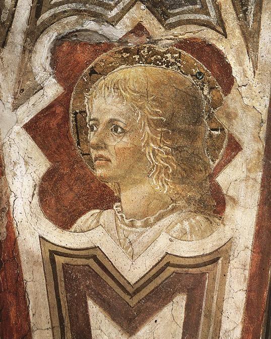 ❤ - PIERO DELLA FRANCESCA - (1415 - 1492) - Head of an Angel. 1452. Fresco. 55 cm (at the base). San Francesco, Arezzo, Italy.