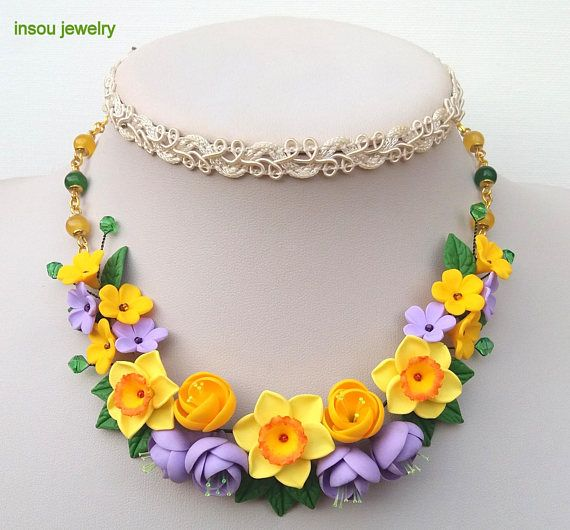 Wedding Necklace Flower Necklace Statement Necklace