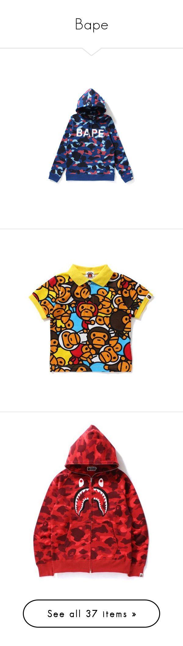 """Bape"" by sapringle ❤ liked on Polyvore featuring jackets, tops, hoodies, red top, streetwear hoodies, camouflage hoodies, embroidered top, full zip hoodie, cotton hooded sweatshirt and camo hooded sweatshirt"