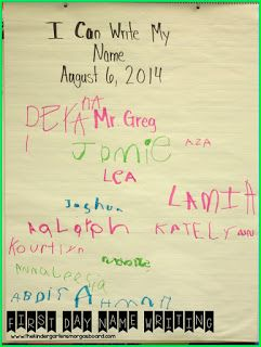 On the first day of school have kindergarteners write their name on chart paper.  Display this all year as a way to show growth!  First day of kindergarten!  Names!
