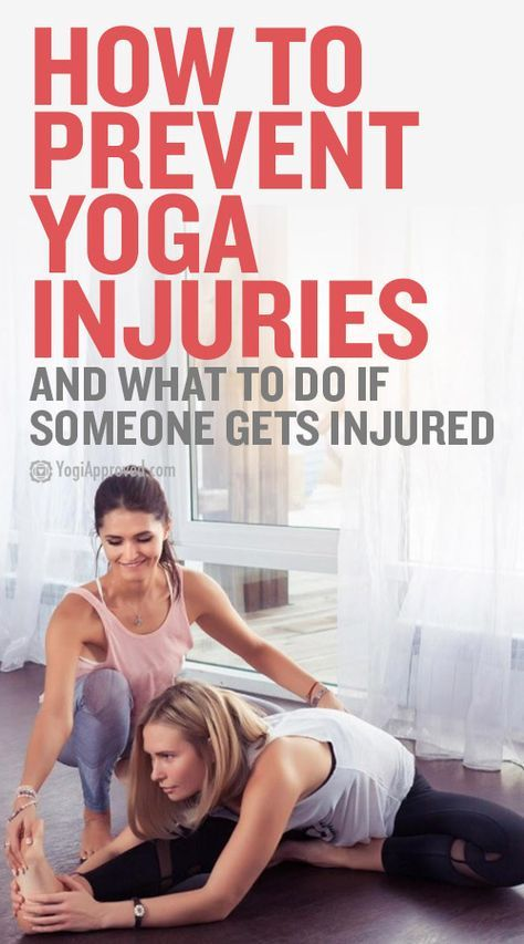 Yoga injuries can happen, but this article shares pro tips on how yoga teachers can help prevent injuries in class and also what to do if someone gets hurt.
