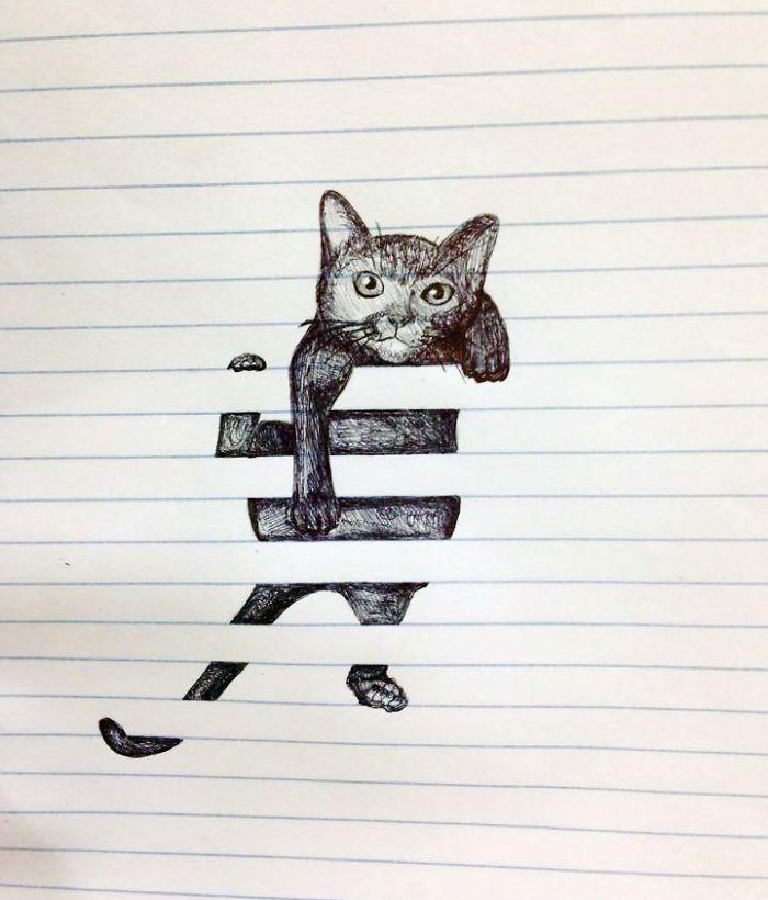 Entre linhas: 7 Desenhos superlegais que interagem com as linhas do caderno | ROCK'N TECH