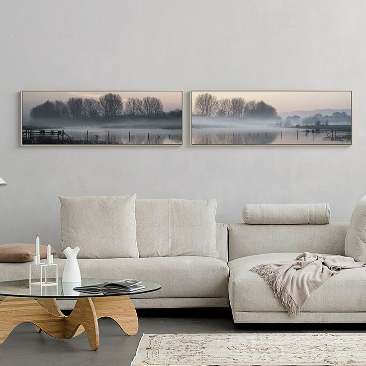 Contemporary Landscape Wall Art Premium Canvas Peaceful Lakeside (Set Of 2) Extra Large  Dimensions - Landscape 120W x 40H cm
