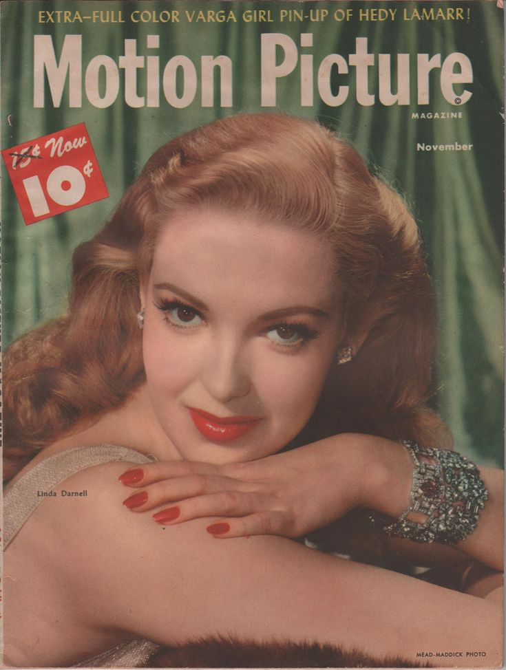 """Linda Darnell on the November 1947 Motion Picture.  The lightened hair was for the title role in """"Forever Amber""""."""