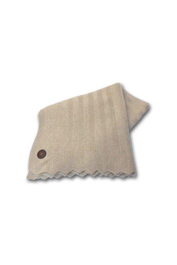 Pledd merinoull/akryl herringbond Beige130x160 cm