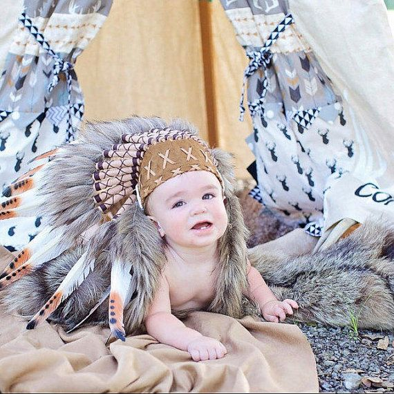 N04- For 9 to 18 month  Toddler / Baby: three colors Brown Native American Style Indian Headdress for the little ones ! by theworldoffeathers. Explore more products on http://theworldoffeathers.etsy.com
