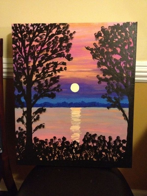 Trees and lake sunset reflection. 40 Easy Acrylic Canvas Painting Ideas for Beginners