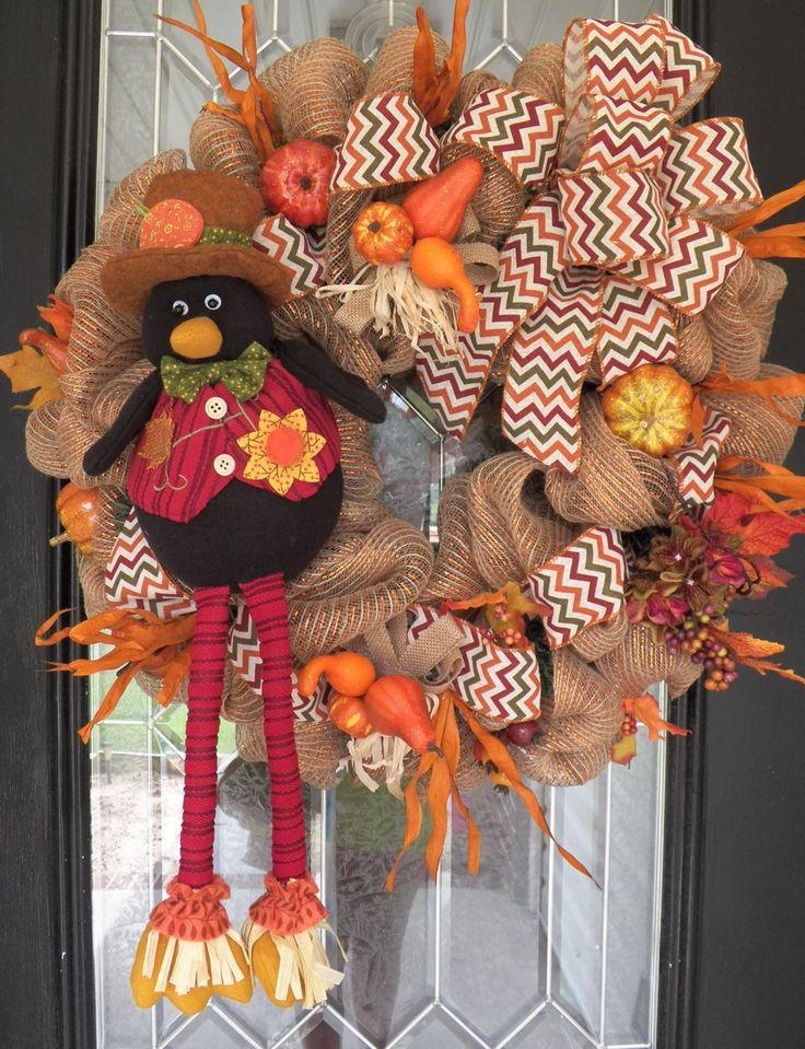XL Burlap Fall Wreath, Autumn Wreaths, Fall Door Hanger, Decoration, Burlap Door Hangers, Wreath for Door, Front door wreaths, Ready to Ship by OccasionsBoutique on Etsy