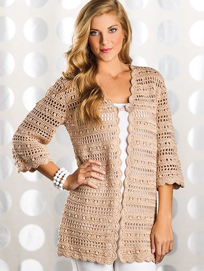 Free Crochet Pattern Download -- This Uptown Chic Cardigan, designed by Laura Gebhardt, is featured in episode 12, season 6 of Knit and Crochet Now! TV. Learn more here: https://www.anniescatalog.com/knitandcrochetnow/patterns/detail.html?pattern_id=198&series=2