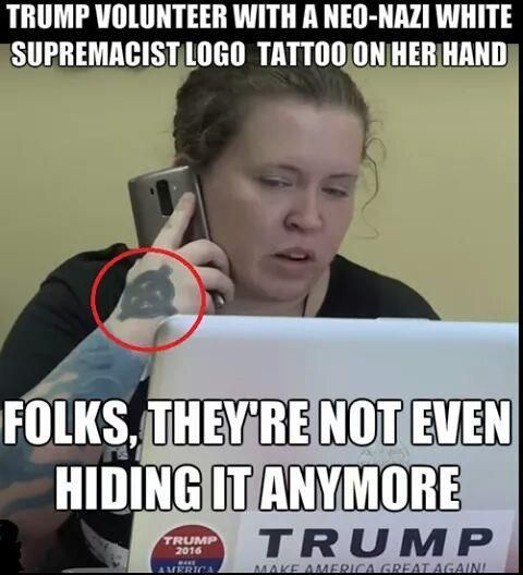 "This time it's not Photoshopped. According to NPR, she claims that it just reflects her celtic heritage. Okay, then explain the ""88"" tattooed on your other hand! (88 is another popular white supremacist tattoo symbol)"