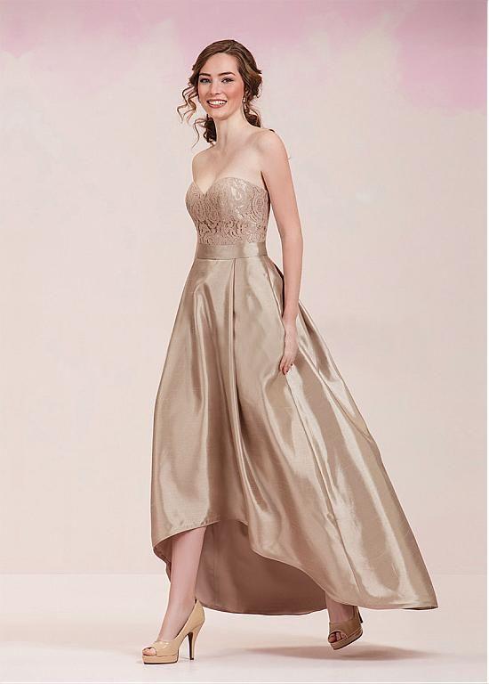 comprar Agraciado de tafetán de novia de escote Hi-lo una línea de vestidos de dama con el cordón de descuento en Dressilyme.com
